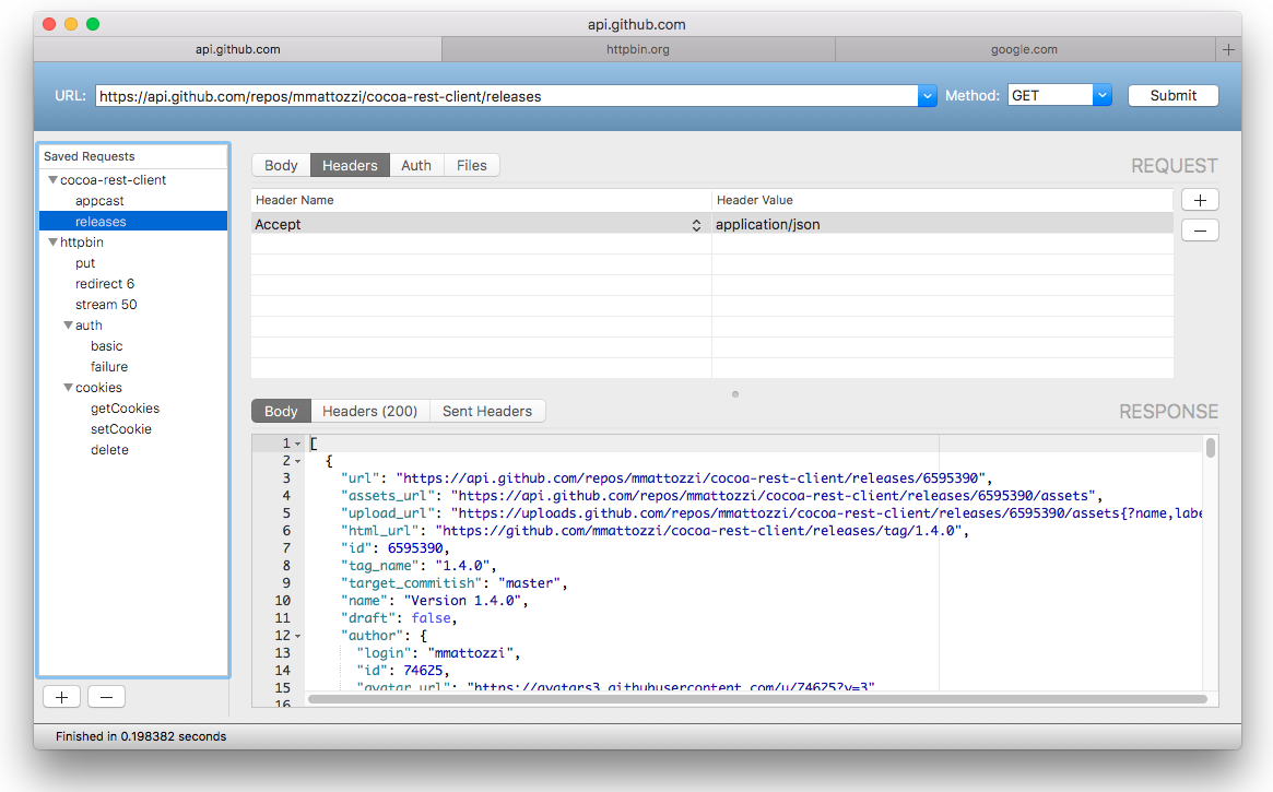 Cocoa Rest Client: A free, native Apple OS X app for testing
